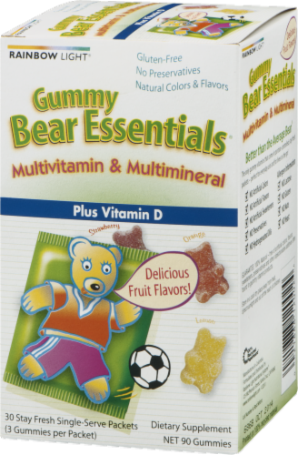 Rainbow Light Gummy Bear Essentials Multivitamin & Multimineral Plus Vitamin D Gummies Packets Perspective: back