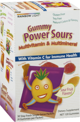 Rainbow Light Gummy Power Sours Multivitamin & Multimineral with Extra Vitamin C Gummies Packets Perspective: back