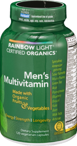 Rainbow Light Organic Men's Multivitamin Vegetarian Capsules Perspective: back