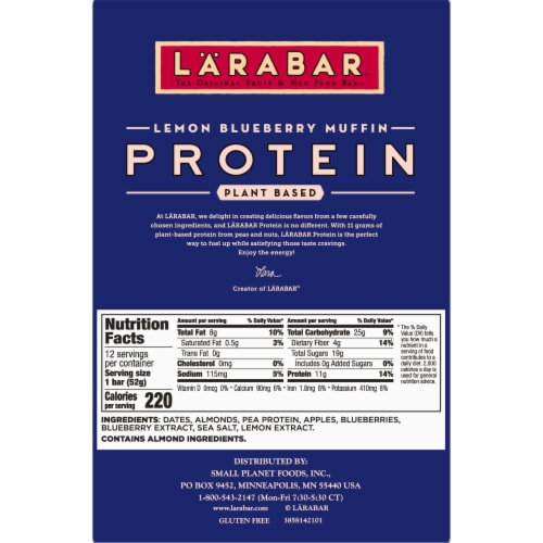 Larabar Lemon Blueberry Muffin Protein Bars Perspective: back