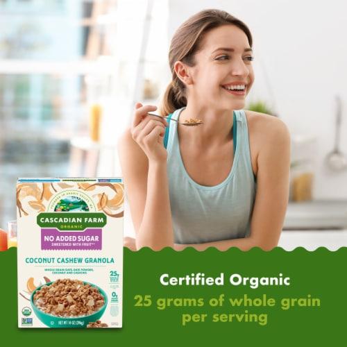 Cascadian Farm Organic No Added Sugar Coconut Cashew Granola Perspective: back