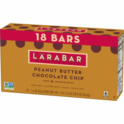 Larabar Peanut Butter Chocolate Chip Gluten-Free Snack Bars Perspective: back