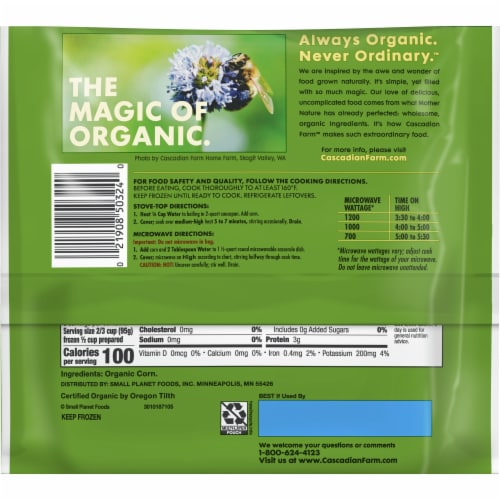 Cascadian Farm Premium Organic Sweet Corn Perspective: back