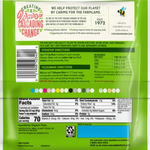 Cascadian Farm Premium Organic Sweet Peas Perspective: back