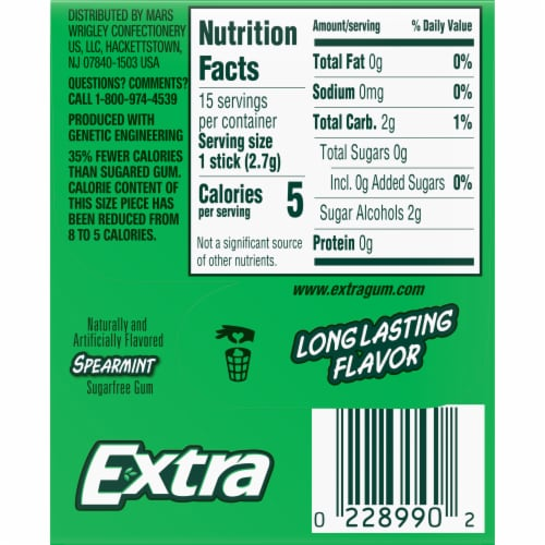 EXTRA Spearmint Sugar Free Chewing Gum 15 Count Perspective: back