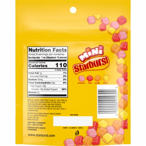 Starburst Original Minis Fruit Chews Candy Bag Perspective: back