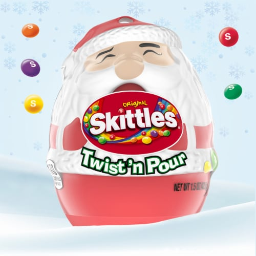 Skittles Original Twist 'n Pour Santa Christmas Candy Stocking Stuffers Perspective: back
