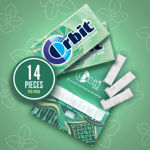 ORBIT Sweet Mint Sugar Free Chewing Gum Perspective: back