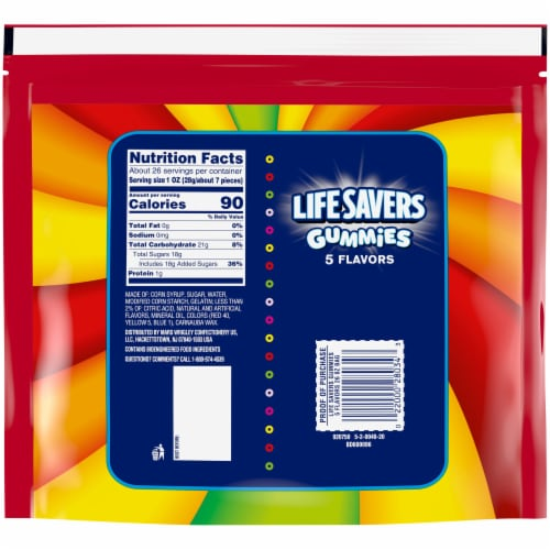 Life Savers 5 Flavors Gummies Candy Perspective: back
