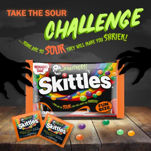 Skittles Shriekers Sour Fun Size Halloween Candy Perspective: back