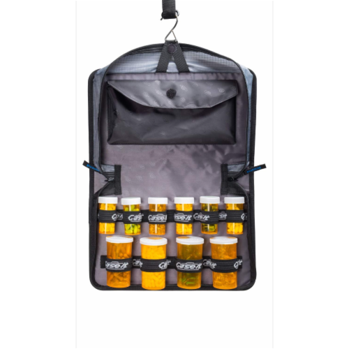 Med Manager Mini Medicine Organizer and Pill Case, Holds (10) Pill Bottles, Blue Perspective: back