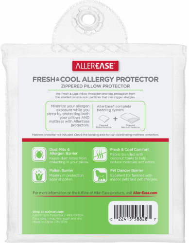 AllerEase Fresh and Cool Zippered Pillow Protector - White Perspective: back