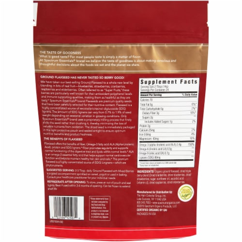 Spectrum Essentials® Ground Flaxseed with Mixed Berries Perspective: back