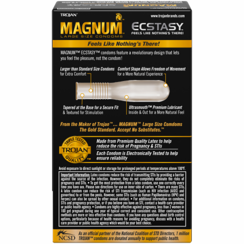 Trojan Magnum Ecstasy Ultra Smooth Lubricated Large Size Latex Condoms 10 Count Perspective: back