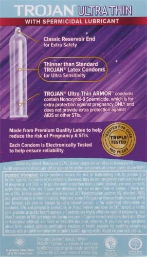 Trojan Armor Ultra Thin Spermicidal Lubricated Latex Condoms Perspective: back