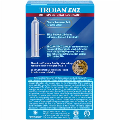 Trojan ENZ Spermicidal Lubricated Latex Condoms Perspective: back