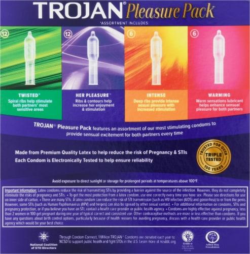 Trojan Pleasure Pack Lubricated Latex Condoms 36 Count Perspective: back