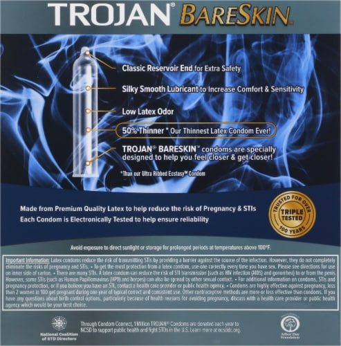 Trojan BareSkin Lubricated Latex Condoms Perspective: back