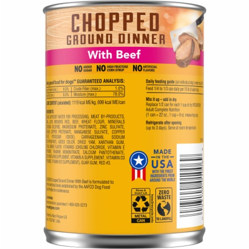 Pedigree Chopped Ground Dinner with Beef Wet Dog Food Perspective: back