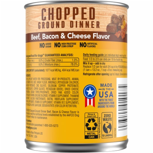Pedigree Chopped Ground Dinner Beef Bacon & Cheese Flavor Wet Dog Food Perspective: back
