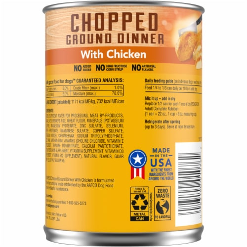 Pedigree Chopped Ground Dinner with Chicken Wet Dog Food Perspective: back