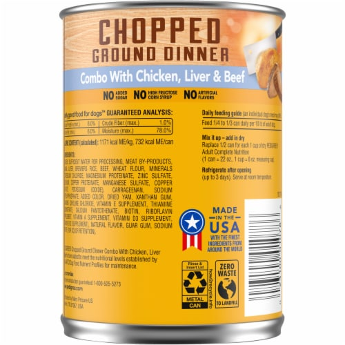 Pedigree Chopped Ground Dinner Combo Can with Chicken Beef & Liver Wet Dog Food Perspective: back