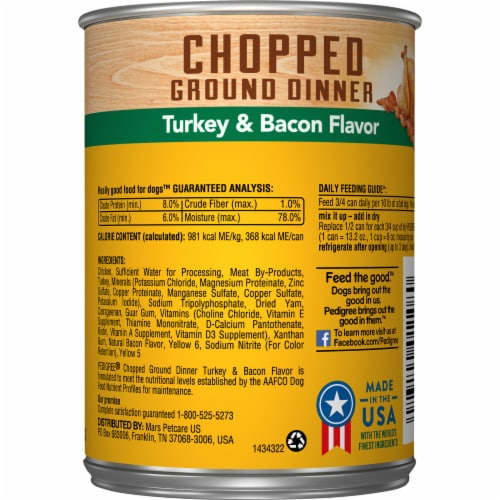 Pedigree Chopped Ground Dinner with Turkey & Bacon Flavor Wet Dog Food Perspective: back