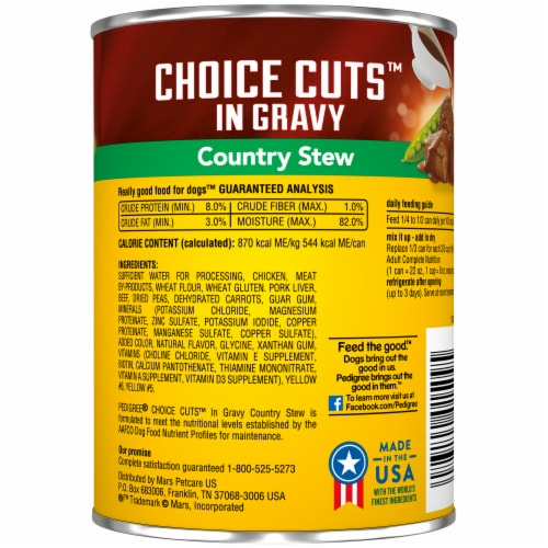 Pedigree Choice Cuts in Gravy Country Stew Wet Dog Food Perspective: back