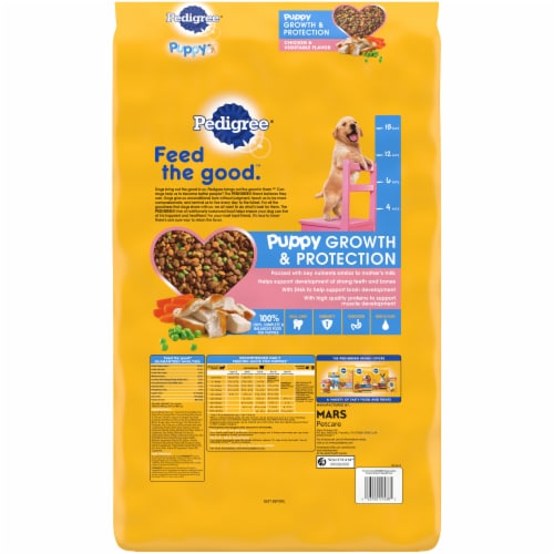 Pedigree Puppy Growth & Protection Chicken & Vegetable Flavor Dry Dog Food Perspective: back