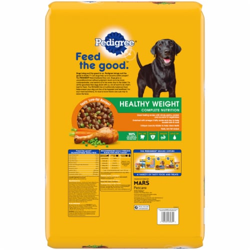 Pedigree Healthy Weight Complete Nutrition Roasted Chicken Rice & Vegetable Flavor Dog Food Perspective: back