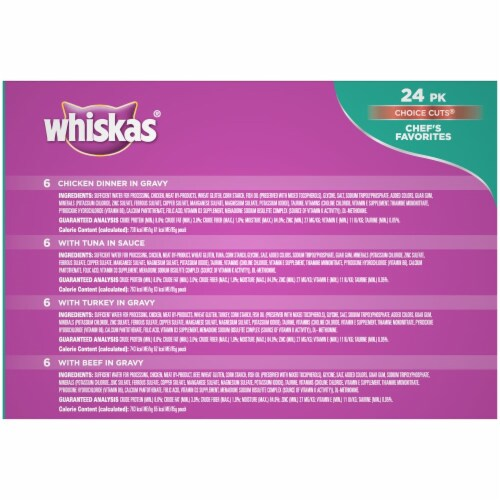 Whiskas Choice Cuts Chef's Favorites Variety Pack Wet Cat Food Pouches Perspective: back