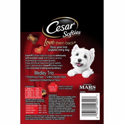 Cesar Softies Medley Trio Dog Treats Perspective: back