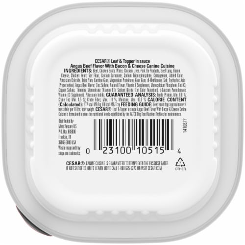 Cesar® Loaf & Topper in Sauce Angus Beef Flavor with Bacon & Cheese Wet Dog Food Perspective: back
