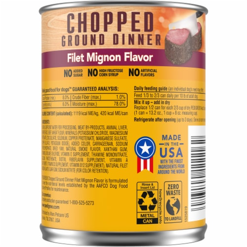 Pedigree Chopped Ground Dinner Filet Mignon Flavor Wet Dog Food Perspective: back