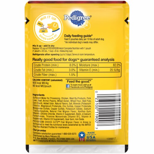 Pedigree Choice Cuts Filet Mignon Flavor in Gravy Wet Dog Food Perspective: back