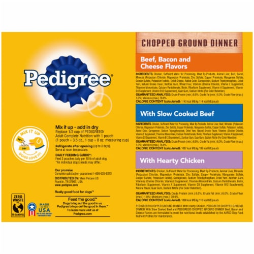 Pedigree Chopped Ground Dinner Wet Dog Food Variety Pack Perspective: back