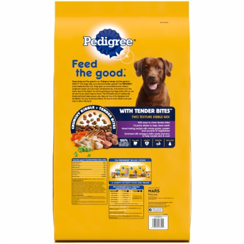 Pedigree With Tender Bites Chicken & Steak Flavored Two Texture Adult Dry Dog Food Perspective: back