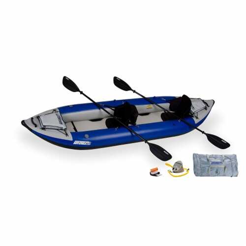 Sea Eagle 380X Inflatable 3 Person Kayak Explorer with Pro Package, White/Blue Perspective: back