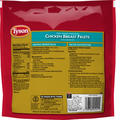 Tyson Fully Cooked Portioned Chicken Breast Fillets Perspective: back