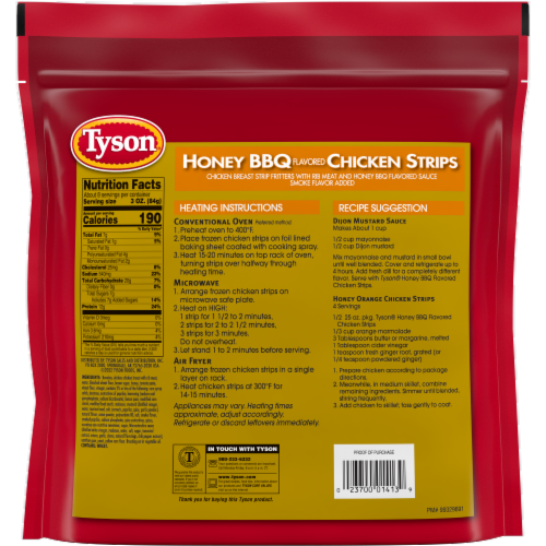 Tyson Fully Cooked Honey BBQ Chicken Strips Perspective: back