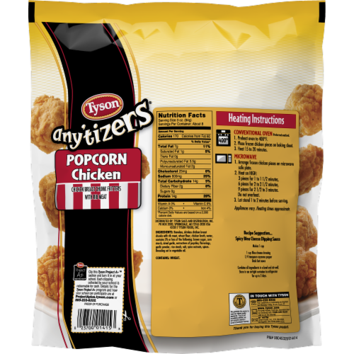 Tyson Any'tizers Popcorn Frozen Chicken Perspective: back