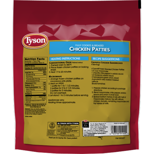 Tyson Fully Cooked Chicken Patties Perspective: back