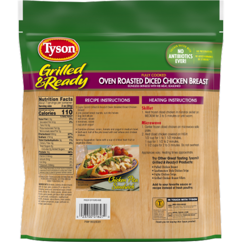 Tyson Grilled & Ready Fully Cooked Oven Roasted Diced Chicken Breast Perspective: back