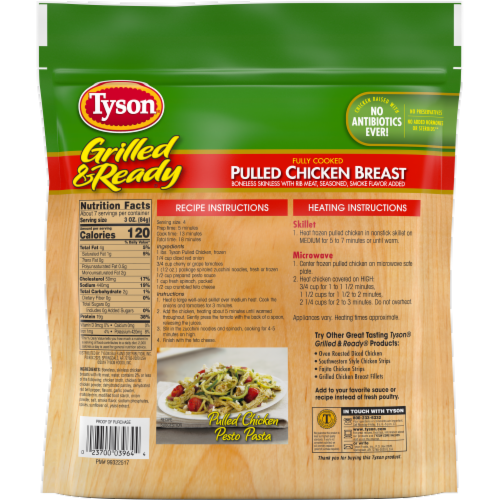 Tyson Grilled & Ready Fully Cooked Pulled Chicken Breast Perspective: back
