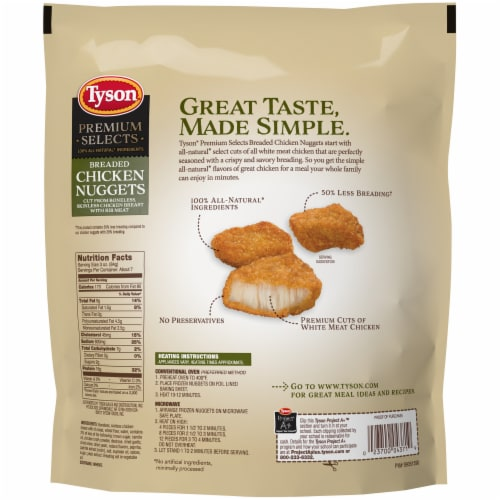 Tyson Premium Selects Fully Cooked Breaded Chicken Nuggets Perspective: back