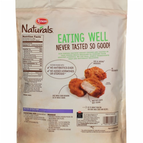 Tyson Naturals 100% Whole Grain Breaded Chicken Breast Chunks Perspective: back