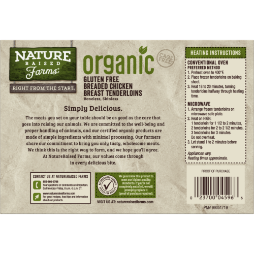 Nature Raised Farms Organic Gluten Free Breaded Chicken Breast Tenderloins Perspective: back
