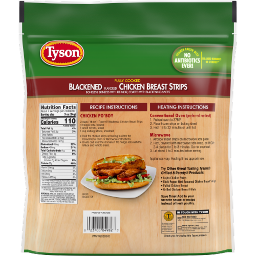 Tyson Blackened Flavored Unbreaded Chicken Strips Perspective: back