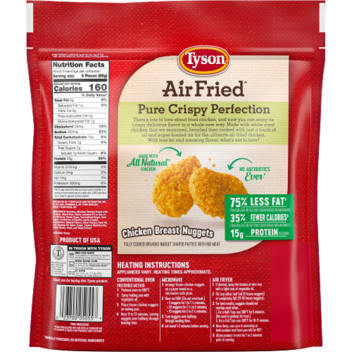 Tyson Air Fried Perfectly Crispy Chicken Nuggets Perspective: back