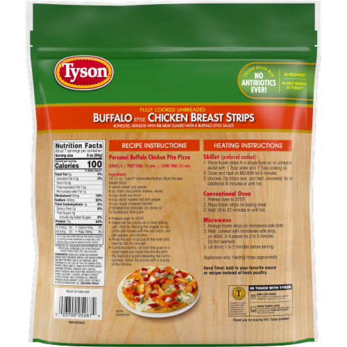 Tyson Fully Cooked Unbreaded Buffalo Style Chicken Breast Strips Perspective: back
